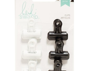 Black and White Bulldog Clips - Set of 6 - for Scrapbooks, Paper Crafts, Mixed Media, Organizing Supplies, by Heidi Swapp