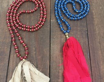 Game day silk tassel necklace - Florida State, Ole Miss