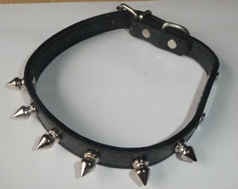 """Black Leather studded dog collar. For smaller dog. 15.5"""" long. May be goth bracelet. fit cat"""