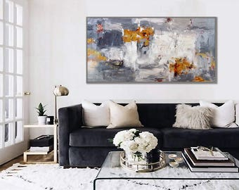 "Large Abstract Painting hand painted Palette Knife Painting Gray White Textured Abstract Artwork  36x72""/90x180cm"