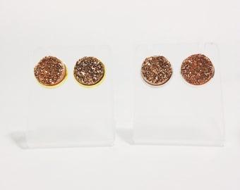 Druzy Stud Earrings in Bronze, Druzy Studs, Bronze Druzy Earrings, Silver Post Earrings, Gold Post On Earrings, Bronze Druzy Post Earrings