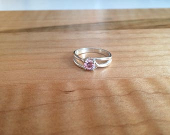 Pink Cubic Zirconia Round Cut in Sterling Silver Ring Setting Size 7