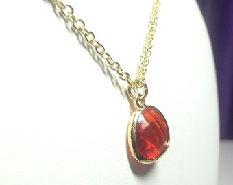 Red Orange Charm Necklace, Mothers Day Gift Mom Sister Grandmother, Gold Necklace, Pretty Simple
