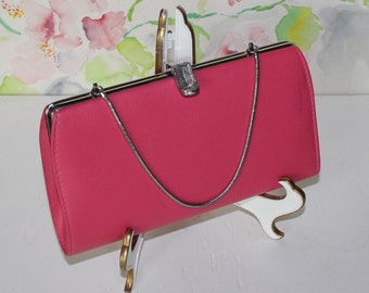 Vintage Pink Clutch with Chain, Handbag