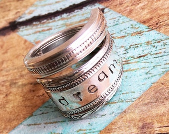 Vintage Silverware Spoon Ring Dream Inspiration Ring Handstamped Ring Handmade Ring Antique Bohemian