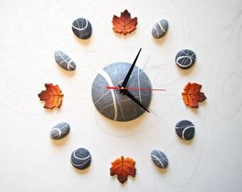 Orologio da parete design con foglie d'acero Decorazioni murali adesive Orologio 3d Pareti di design Orologi da parete particolari