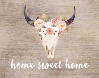 Cadeau de Home Sweet Home - aquarelle de tribal art - fine art print - impression - pour la nouvelle maison - bois imprimé