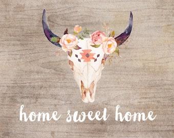 Home Sweet Home - tribal artwork - fine art print - watercolor print - gift for new home - wood print