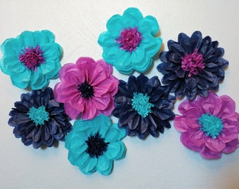 Turquoise, Purple And Navy Blue Tissue Paper Flowers Pom Pom Decor
