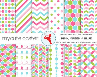 Pink, Green & Blue Digital Paper Set - polka, stripes, chevron, patterned paper - personal use, small commercial use, instant download