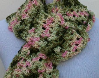 Woman's Crochet Scarf, Variegated Crochet Scarf, Handmade Scarf, Crochet Scarves, Handmade Scarves, Summer Scarf, Spring Scarf