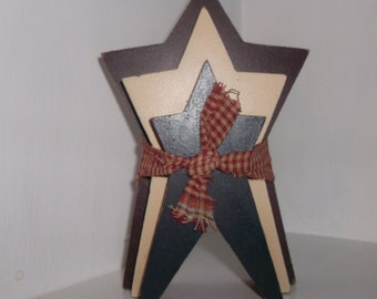 """6"""" X 4"""" Triple Americana Wood Triple red white & blue Star Shelve Sitter Country"""