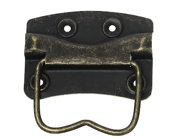 5 box handles, folding handles, intake boxes handles, carrying handles 62 x 45 mm, Brass