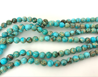 Sea Sediment Jasper Genuine Natural 4mm Round Light Turquoise Blue Loose Beads Semiprecious Gemstone Bead Wholesale Beads Supply