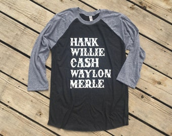 Country Music Legends, Women's 3/4 Sleeve Tri-blend Raglan Tee, Country Apparel T-Shirt Southern Clothing, Country Sayings Shirt