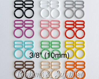 """3/8"""" (10mm) Bra Sliders & Rings - Nylon Coated Metal - Headband Adjusters"""