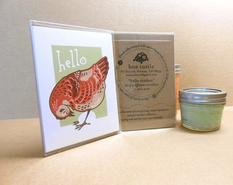 Hello Chicken hand screenprinted notecards, Boxed Set of 4