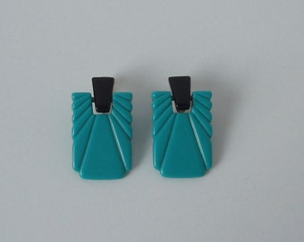 Vintage Gold tone with Teal and Black Lucite Earrings.