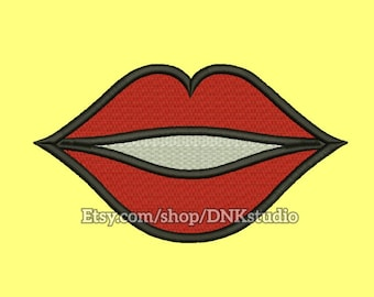 Kiss Lips Embroidery Design - 6 Sizes - INSTANT DOWNLOAD