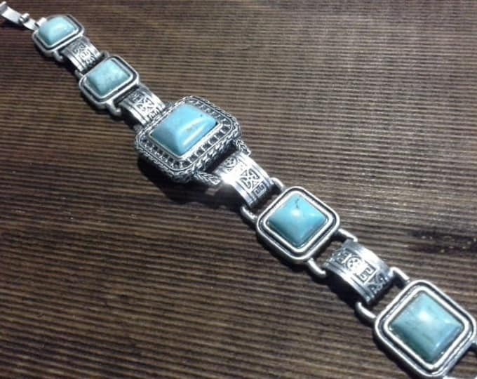 Vintage Turquoise & Silver Tone Square Link Bracelet Navajo Tribal Mexican Style