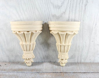 Wall sconce shelf, decorative wall shelf, wall shelf display, solid wood, creamy buttermilk color, distressed, shabby chic, upcycled