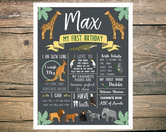 First Birthday Chalkboard Sign Poster - Boy or Girl - Digital / Printable - Zoo - Safari - Animals - Kangaroo - Koala - Lion - Tiger