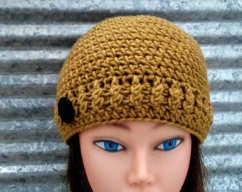Chunky Crocheted Hat with Black Plastic Button Honey Color, brown-yellow beanie wool blend