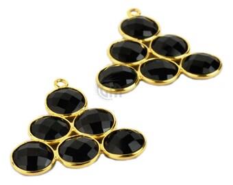 Black Onyx Gemstone Bezel Component, Gold Plated Connector, Bezel Setting, 24k Gold Plated, Boho Jewelry Supply, GemMartUSA (GPBO-13014)