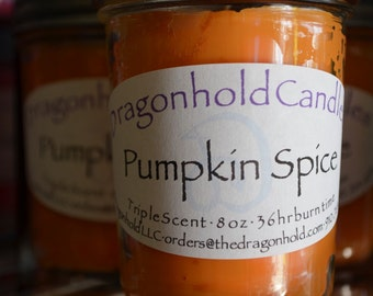 Pumpkin Spice Candle: Hand Poured, Triple Scented Soy-Paraffin Candle
