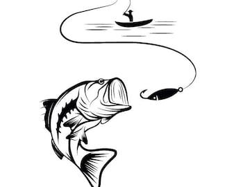 bass fishing svg etsy rh etsy com Bass Fish Outline Vector Bass Fish Jumping Clip Art