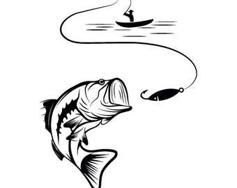 Bass Fishing #4 Logo Angling Fish Hook Fresh Water Hunting Largemouth Smallmouth Striped .SVG .EPS .PNG Clipart Vector Cricut Cut Cutting