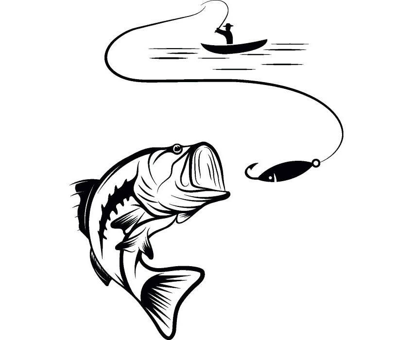 bass fishing 4 logo angling fish hook fresh water hunting rh etsy com Bass Fish Outline Bass Fish Outline