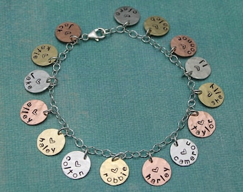 Personalized Mommy or Grandma Charm Bracelet, Mixed Metals Mother Charm Bracelet, Mother's Day Gift, Gifts for Her, Hand Stamped