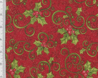 """Mistletoe - LAST PIECE 1 Y 25"""" - Benartex - Get in on the Kissing Game - Holly Berries on Red"""