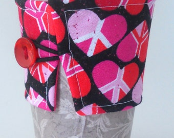 Valentine's And Peace Signs Reusable Coffee Cozy