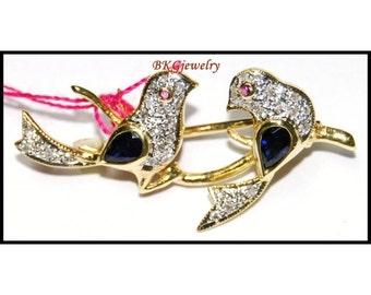 Natural Diamond 18K Yellow Gold Blue Sapphire Bird Brooch/Pin [I_027]