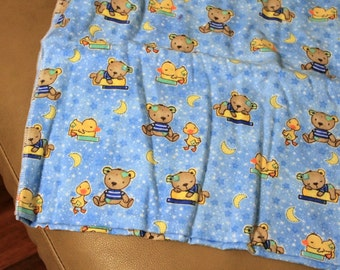Teddy Bears & Ducks Cotton Flannel Stroller Blanket