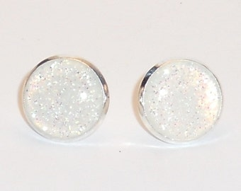 White Snowflake Glitter 12 mm Post Earrings