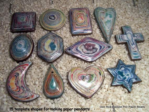 Printable Paper Bead Pendant Templates 15 Designs With