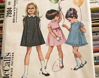 McCalls 1960s Vintage Little Girls Sewing Pattern / Girls / Childs 5 Panel Dress / 2 Sizes: 2 & 4 / 7994 / Rare Find!
