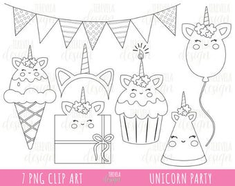 50% SALE UNICORN digital stamps, unicorn party digi stamps, commercial use, coloring page, unicorn clipart, cute graphics, unicorn party
