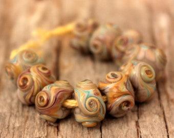 Mini Swirlies- A set of 10 handmade lampwork beads