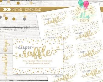 Twinkle Twinkle Diaper Raffle Printable Card, Baby Shower Diaper Raffle, Twinkle Twinkle Little Star, Gender Neutral Printable, Little Star
