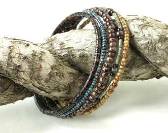 Beaded bracelet stack - blue brown picasso glass & shell beads memory wire cuff