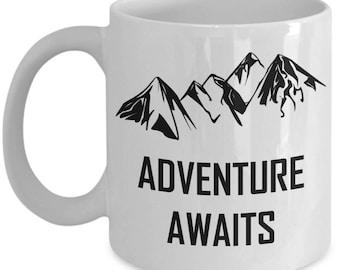 Adventure Awaits Coffee Mug Mountain Loving Hiking Gift
