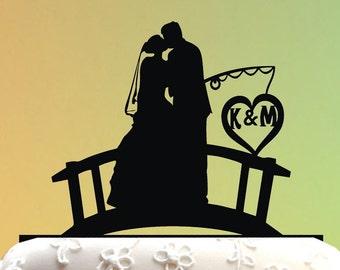 fishing Wedding Cake Topper / Love Wedding Cake Topper /  Cake Topper fishing - Cake Topper engagement / Personalized Cake Topper M1-01-025