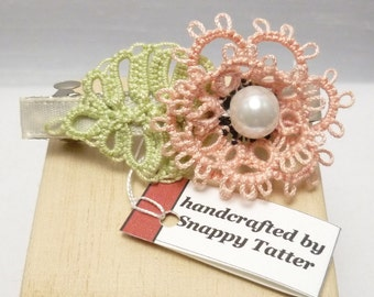 Tatting Flower Barrette with leaf - peach Rosette Barrette shuttle tatted lace hair accessory one of a kind handmade floral no slip