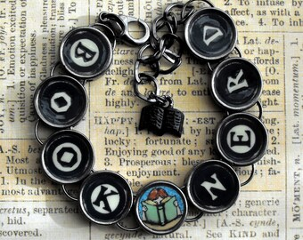 Book Nerd Bracelet Bookish Reader Gift Literary Themed Bibliophile Jewelry