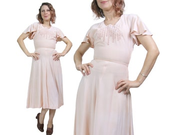 1940s Pink Rayon Flutter Sleeve Day Dress With Embroidery and Nailheads
