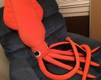 Custom Made To Order Giant Squid Pillow Plush 7 ft Long